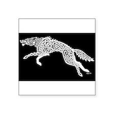 White Wolf on Black Sticker