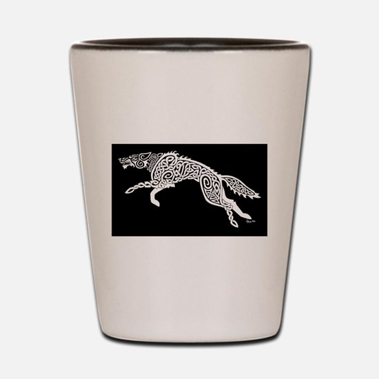 White Wolf on Black Shot Glass