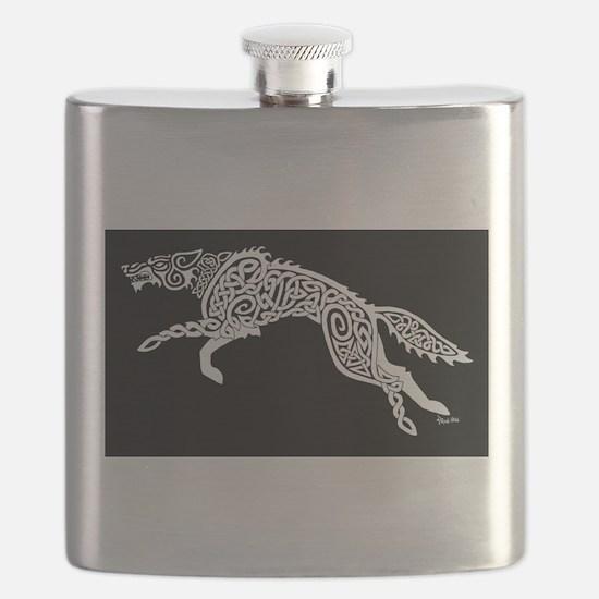 White Wolf on Black Flask