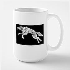 White Wolf on Black Mugs