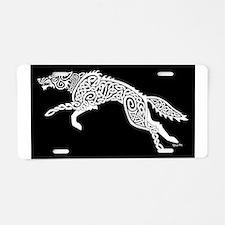White Wolf on Black Aluminum License Plate
