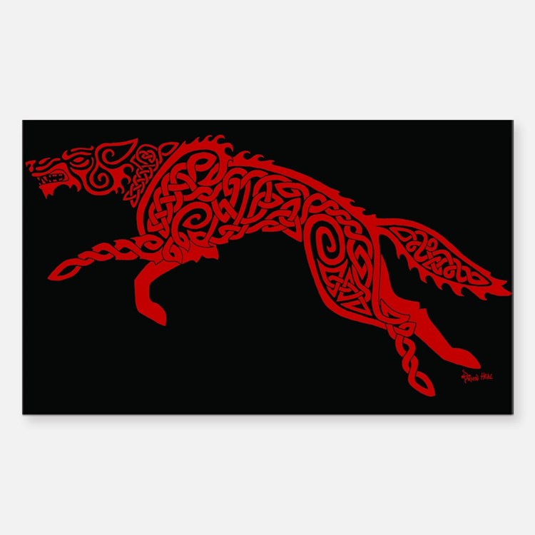 Red Wolf on Black Decal