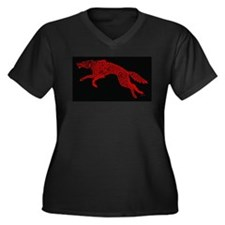 Red Wolf on Black Plus Size T-Shirt