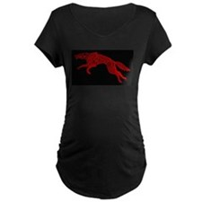 Red Wolf on Black Maternity T-Shirt