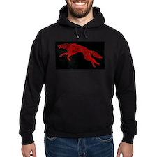 Red Wolf on Black Hoodie