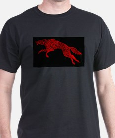 Red Wolf on Black T-Shirt