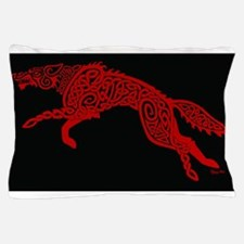 Red Wolf on Black Pillow Case