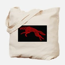 Red Wolf on Black Tote Bag