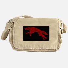 Red Wolf on Black Messenger Bag