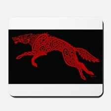 Red Wolf on Black Mousepad