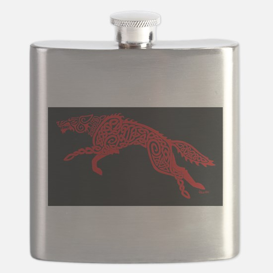 Red Wolf on Black Flask