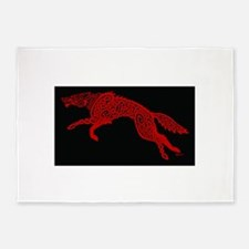 Red Wolf on Black 5'x7'Area Rug