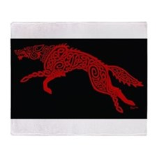 Red Wolf on Black Throw Blanket