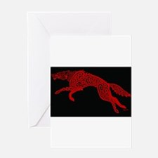 Red Wolf on Black Greeting Cards