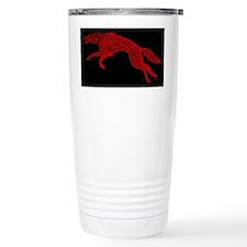 Red Wolf on Black Travel Mug