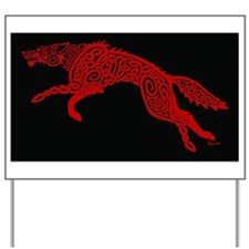 Red Wolf on Black Yard Sign
