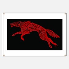 Red Wolf on Black Banner