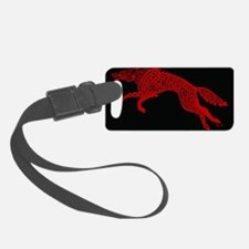 Red Wolf on Black Luggage Tag