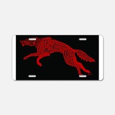 Red Wolf on Black Aluminum License Plate