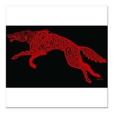 "Red Wolf on Black Square Car Magnet 3"" x 3"""
