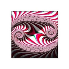 """Candy Cane Abstract Trippy  Square Sticker 3"""" x 3"""""""