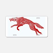 Red Wolf Aluminum License Plate