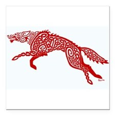 "Red Wolf Square Car Magnet 3"" x 3"""