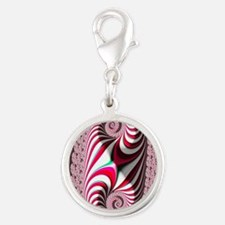 Candy Cane Abstract Trippy Fra Silver Round Charm