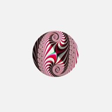 Candy Cane Abstract Trippy Fractal Mini Button
