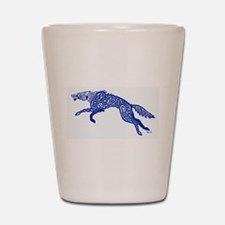 Blue Wolf Shot Glass
