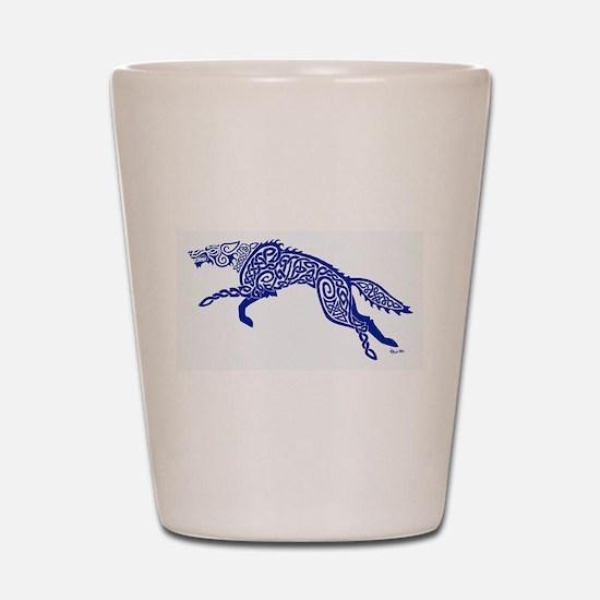 Blue Wolf Shot Glass
