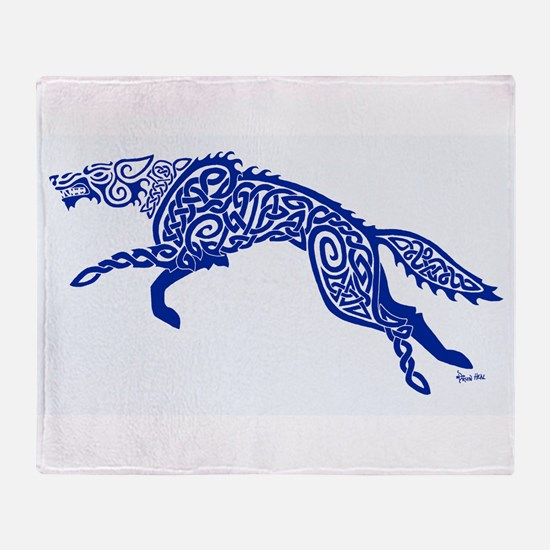Blue Wolf Throw Blanket