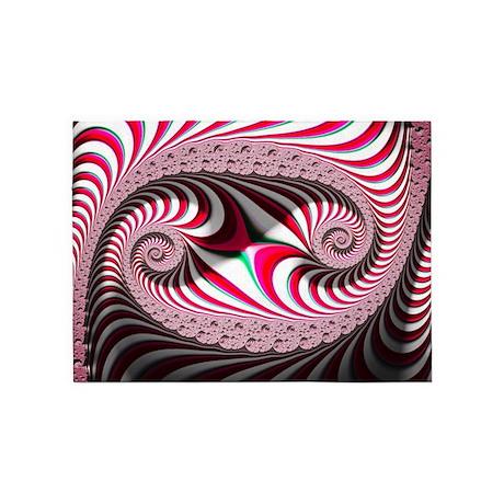 Candy Cane Abstract Trippy Fractal 5u0027x7u0027Area Rug