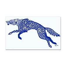 Blue Wolf Rectangle Car Magnet