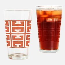 Orange and White Spanish Tile Drinking Glass
