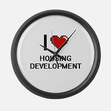 I love Housing Development Large Wall Clock
