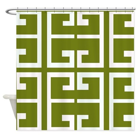 Avocado Green Spanish Tile Shower Curtain By Crazycheckerboards