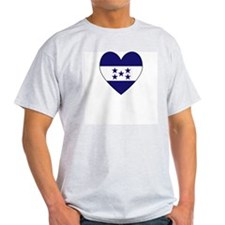 Honduran Flag Heart Ash Grey T-Shirt