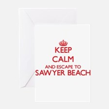 Keep calm and escape to Sawyer Beac Greeting Cards