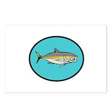 Yellowtail Kingfish Oval Cartoon Postcards (Packag