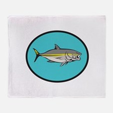 Yellowtail Kingfish Oval Cartoon Throw Blanket