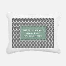Gray and Mint Quatrefoil Rectangular Canvas Pillow