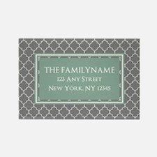 Gray and Mint Quatrefoil Personal Rectangle Magnet