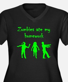 Zombies Ate My Homework Plus Size T-Shirt
