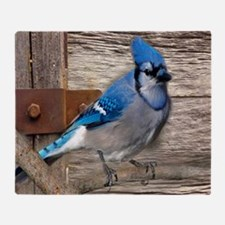 rustic barn wood blue jay Throw Blanket