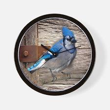 rustic barn wood blue jay Wall Clock