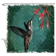 modern teal floral  hummingbird Shower Curtain