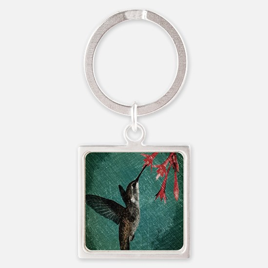 modern teal floral  hummingbird Square Keychain