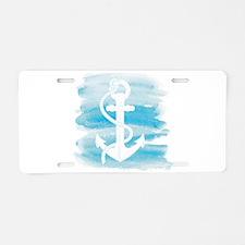 Watercolor Anchor Aluminum License Plate