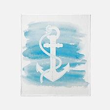 Watercolor Anchor Throw Blanket